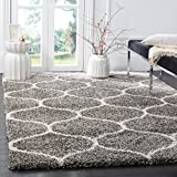 Safavieh Hudson Shag Collection SGH280B Moroccan Ogee Plush Area Rug, 5' Square, Grey/Ivory