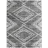 ReaLife Machine Washable Rug - Stain Resistant, Non-Shed - Eco-Friendly, Non-Slip, Family & Pet Friendly - Made from Premium Recycled Fibers - Moroccan Diamond - Gray, 5' x 7'