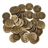 IPOTCH 50 Stück Bronzeplatten Mit Worten DIY Für Die Schmuckherstellung - Bronze2