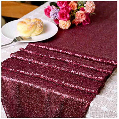 LQIAO Sequin Table Runner Wedding Matte Burgundy-12x72in, Wedding...
