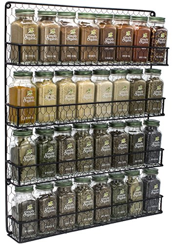 Sorbus Spice Rack Organizer [4 Tier] Country Rustic Chicken Herb Holder, Wall Mounted Storage Rack, Great for...