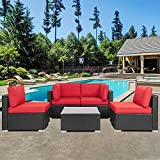 Shintenchi Outdoor Patio Furniture 5 Pieces Sets, All Weather PE Wicker Rattan Patio Conversation Sofa Set Tea Table&Washable Couch Cushions for Backyard Porch Lawn Garden Balcony (Red)