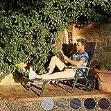 TecTake 800722 Aluminium Poly Rattan Sonnenliege mit Armlehnen und Rollen, klappbar, Gartenliege mit höhenverstellbarer Rückenlehne – Diverse Farben – (Grau | Nr. 403219) - 3