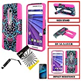 Verizon Motorola Droid Maxx 2 Hybrid Case / Moto X Play /ITUFFY 2items: Stylus Pen+Dual Layer Impact Resistance Hard Cover Soft Rubber KickStand Case (Purple Dream Tribal Flower - Pink)
