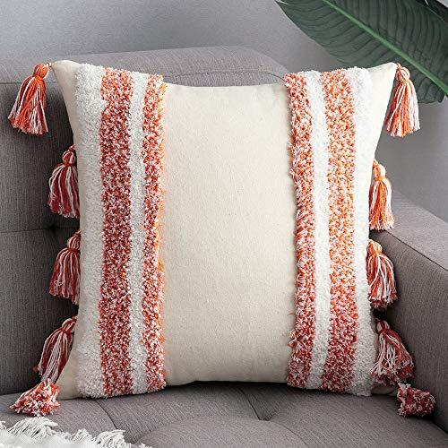 MIULEE 1 Stück Dekorative Kissenbezug Baumwolle Dekokissen Boho Super Weich Kissenbezüge Quaste Decor Kissenhülle für Sofa Couch Schlafzimmer Wohnzimmer 45 x 45 cm Orange