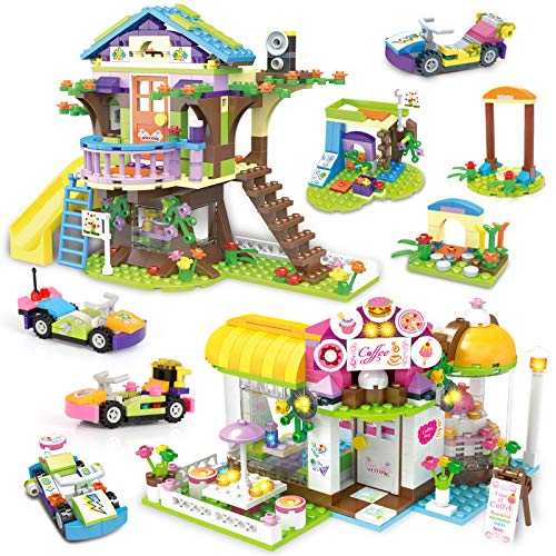 Tree House Building Block Friends Treehouse Coffe Shop Creative Building Toy Set for Kids Include Public Toilets and Wave Machine Roleplay Gift for Girls Boys Gift with Storage Box 960 Pieces