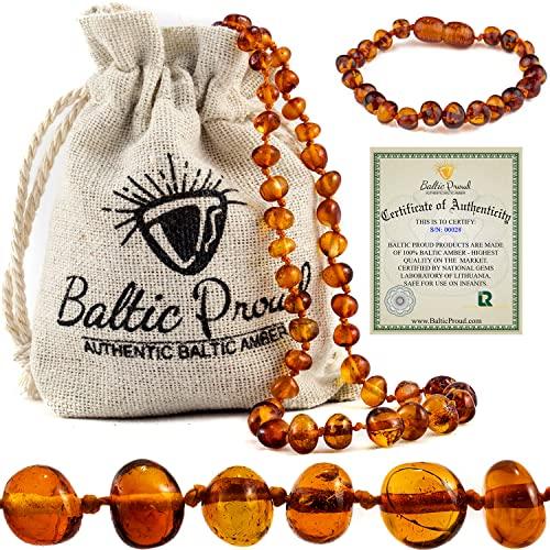 Baltic Amber Necklace and Bracelet Gift Set (Unisex Cognac...