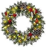 Leaflai Couronne de Noël - Décorations de Noël - Branches naturelles artificielles et réalistes - Couronne de Noël de Noël (WM201503-18W)