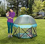 Regalo My Play Deluxe Portable Play Yard Indoor and Outdoor, Bonus Kit, Includes Carry Case and Full Canopy, Washable, Aqua, 6-Panel