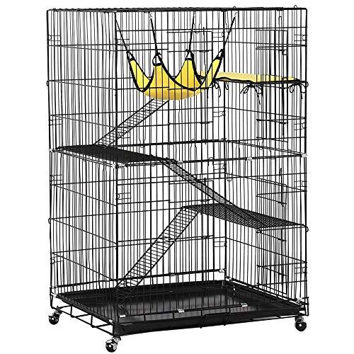 Yaheetech Collapsible Large 4-Tier Metal Pet Cat Kitten Cage Playpen Crate Enclosure Kennel Cat Home on Wheels Indoor Outdoor 3 Ramp Ladders 1 Hammock Black