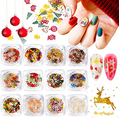 Kalolary 12 Boxes Christmas Nail Sequins Snowflakes Glitter Nail Art Decals, Christmas Nail Flakes Stickers Colorful Confetti Paillette Manicure Nail Art Supplies DIY Nail Decoration