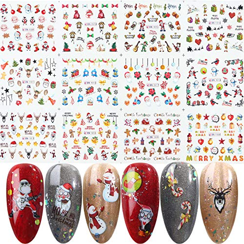 Hanzel Christmas New Year Nail Art Water Transfer Stickers - 12 Sheets Colorful Mixed Cartoon Metallic Nail Stickers,Winter Elements Snowflake Christmas Tree Santa Claus Ring Bell Elk Manicure DIY Nail Decals