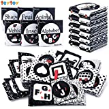 teytoy My First Soft Book, 6 PCS Nontoxic Fabric Baby Cloth Activity Crinkle Soft Black and White Books for Infants Boys and Girls Early Educational Toys Perfect for Baby Shower