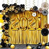 Graduation Decorations 2021:40in 2021 Balloons,89Pcs Black and Gold Party Supplies are Perfect for your Grad and New Years Eve Party Decor