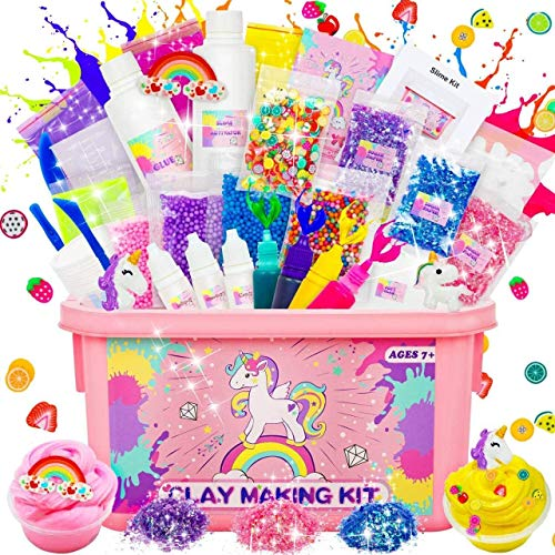 Dookey Slime Kit, Laboratorio Slime per Bambine Slime Forniture Include Argilla, Glitter, Fette di Frutta, Magical Craft Fai da Te Set di Slime Fatto in Casa