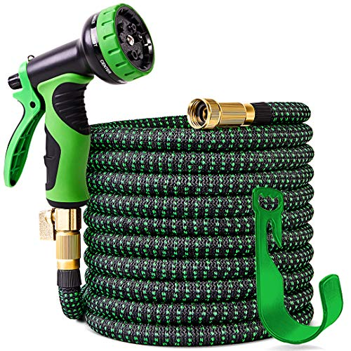 100 ft Expandable Garden Hose,Upgraded Leakproof Lightweight Garden Water Hose with 3/4' Solid Brass Fittings,Extra Strength 3750D Durable Gardening Flexible Hose,Expanding Garden Hoses Spray Nozzle