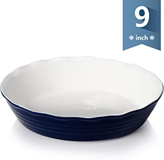 Sweese 516.103 Porcelain Pie Pan, 9 Inches Pie Plate, Round Baking Dish with Ruffled Edge, Navy