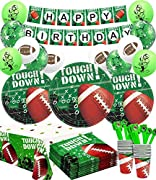 """ALL - IN - ONE PACK SET : 86 pieces football party supplies Includes-16 X 9"""" dinner plates, 16 X 7"""" dessert plates, 16 X cups, 16 X napkins, 1 pack of birthday banner, 1 X football touchdown tablecloth, 6 X green latex football balloons ,6 X white la..."""