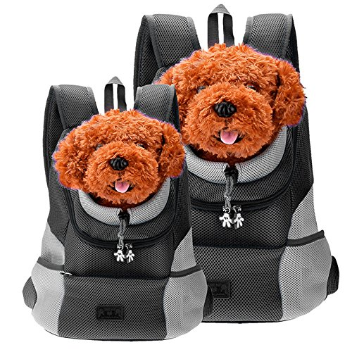 CozyCabin Latest Style Comfortable Dog Cat Pet Carrier Backpack Travel Carrier Bag Front for Small Dogs Carrier Bike Hiking Outdoor (L, Black)