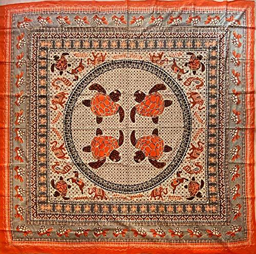 etnico Telo arredo Batik con Ricami Dorati arazzo 210 x 220 cm Circa Hippie Om Indiano Made in India...