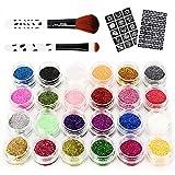 DazSpirit Kit de Tatuajes Temporales (Sin Pegamento), Con 24 Brillos 2 Pincel y Plantillas - para Niñas, Niños y Niños - Adecuado para Maquillaje De Cara y Cuerpo