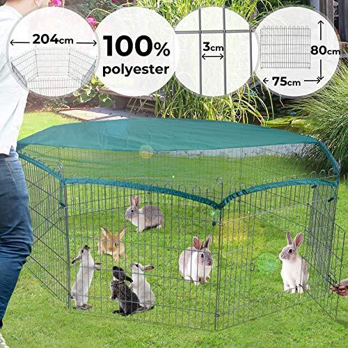 Freilaufgehege Ø 2 m - 8 Gitter, 80cm hoch mit Ausbruchsperre und Abdeckung - Welpenlaufstall, Hundelaufstall, Tierlaufstall für Kleintiere, Hühner, Katzen, Hamster, Hasen, Kaninchen, Meerschweinchen