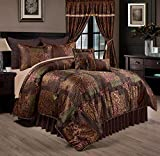 Chezmoi Collection Amelia 9-Piece Floral Jacquard Patchwork Comforter Set, Full