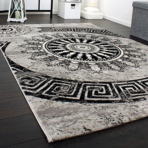 Paco Home Tappeto Classico Lavorato Cerchio Ornamenti Grigio Nero Screziato, Dimensione:120x170 cm