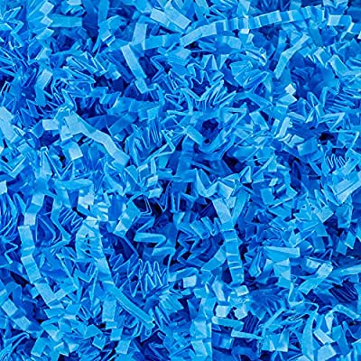Contains (2 LB) Of Crinkle Cut Paper Shred Filler - Light Blue Crinkle cut colored shredded paper makes a great bed for displaying your product Perfect for Gift Wrapping & Basket Filling those extra spaces you have in your packages Attractive void fi...