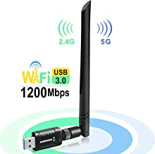 USB WiFi Adapter 1200Mbps for PC Desktop Laptop, Dual Band (2.4G/300Mbps+5G/866Mbps)..