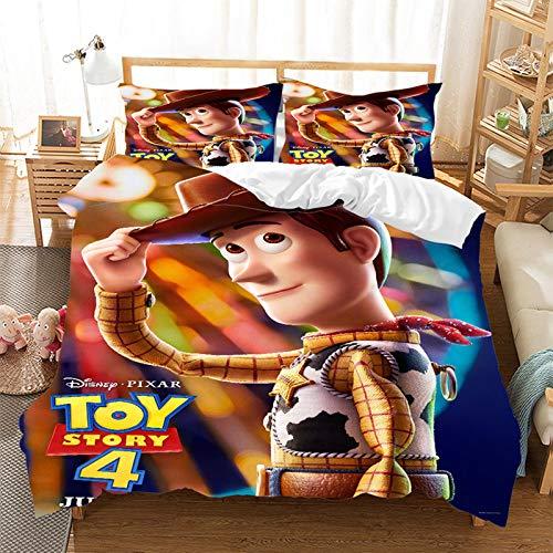 HGKY Toy Story - Set di biancheria da letto singolo con copripiumino 3D anime con cartoni animati, Woody, Jessie e Buzz Lightyear, regalo per ragazze e ragazzi (O, 135 x 200 cm)