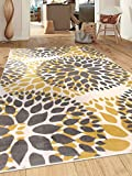 Modern Floral Circles Design Area Rugs 5' X 7' Yellow