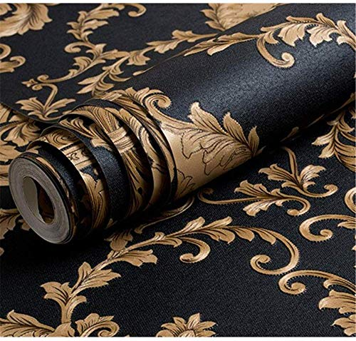Ovoin High Grade Black Gold Luxury Embossed Texture Metallic 3D Damask Wallpaper