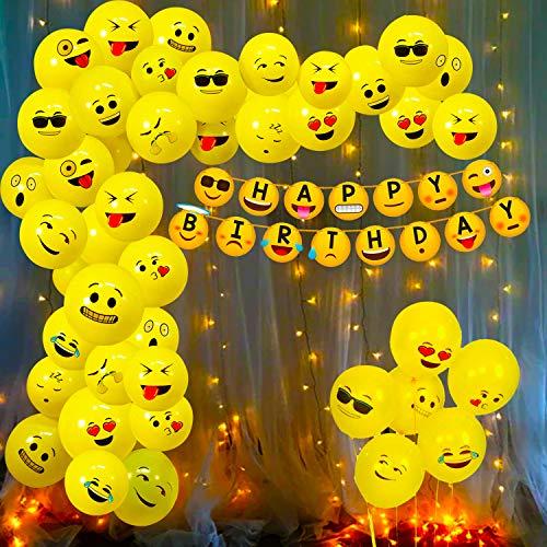 Party Propz Emoji Theme Birthday Decoration Kit Combo - 52Pcs Banner, Balloon, Led Light Set for Kids, Boys,Girls Supplies/ Smiley Birthday Items/ Kids Birthday Decoration Items