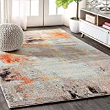 JONATHAN Y Contemporary POP Modern Abstract Vintage Cream/Orange 5 ft. x 8 ft. Area Rug, Bohemian, Easy Cleaning, For Bedroom, Kitchen, Living Room, Non Shedding