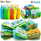 teytoy My First Baby Bath Books, Nontoxic Fabric Soft Baby Bath Toys Early Education Toys Activity Waterproof Baby Books for Toddler, Infants and Kids Perfect for Baby Shower -Pack of 6