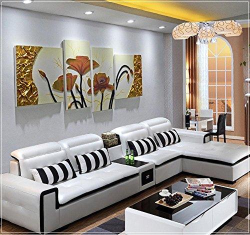 ZZZSYZXL Soggiorno divano sfondo pittura decorativa 4pcs in pelle dipinta a mano rilievo...