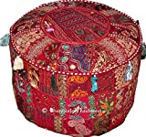 Indian Round Patch Work Embroidered Ottoman Pouf, Indian Round Ottoman Stool...