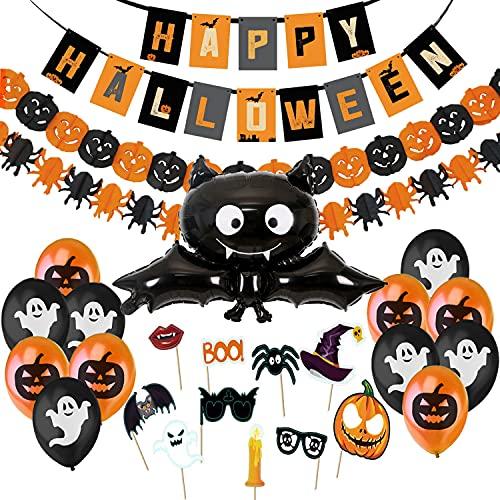 Decoracion Halloween Casa,Bandera Banderinas de Globos Happy Halloween,Guirnaldas Calabaza...