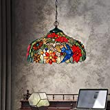 Pendant Light, XINDAR Stained Glass Chandelier Lamp Tiffany Stylish 3 Lights Bronze Ceiling Suspension Lamp (Red)
