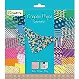 Avenue Mandarine 52501MD - Un paquet de 60 feuilles Origami 20x20 cm 70G (30 motifs x 2 feuilles) et une planche de stickers incluse, Géométric