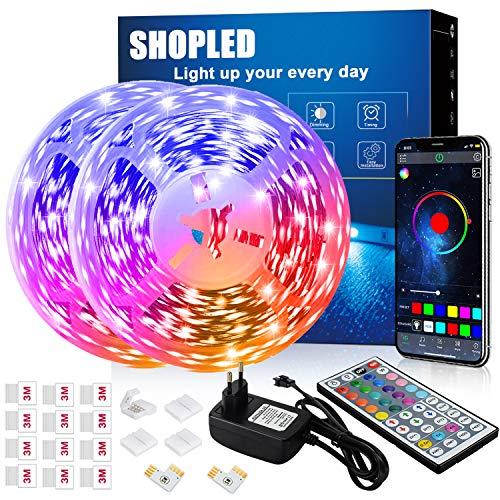 Striscia LED 12M, SHOPLED Bluetooth Music Sync SMD 5050 RGB Luci LED con Controllo Dell'Applicazione, Telecomando a 44 Tasti, Adatto per Camera da Letto, Cucina, TV, Feste, Decorazione Della Stanza