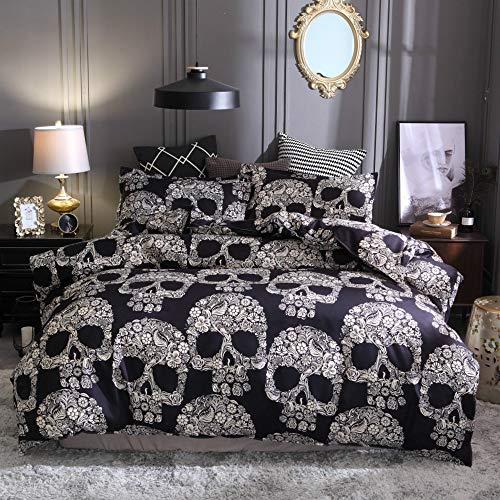 ZHH Skull Duvet Cover Set Black and White Floral Skull Skeleton Microfiber King Size Halloween Bedding Set 3 Piece (King)