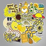 WYZNB Pequeño amarillo fresco maleta maleta maleta maleta maleta maleta carro portátil graffiti pegatinas de dibujos animados impermeable pegatinas 50pcs