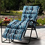 TINA'S HOME Blue Stripe Tufted Outdoor Chaise Lounger Cushion for Patio Furniture/Waterproof Geometric Long Cushion - 72' x 22'
