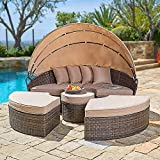 CrownLand Outdoor Patio Canopy Bed Round Daybed with Washable Cushions, Clamshell Sectional Seating Wicker Furniture with Retractable Canopy Furniture for Backyard, Porch, Pool Round Bed (Brown)