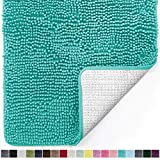 Gorilla Grip Original Luxury Chenille Bathroom Rug Mat, 30x20, Extra Soft and Absorbent Shaggy Rugs, Machine Wash Dry, Perfect Plush Carpet Mats for Tub, Shower, and Bath Room, Turquoise