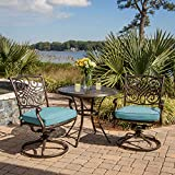 Hanover TRADDN3PCSW-BLU 3 Piece Seasons Bistro Set with 2 Swivel Rockers and 32' Round Table