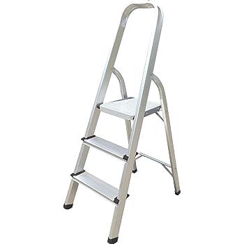 Hyfive Aluminium Step Ladder 3 Step Non Slip Treads Made From Lightweight Aluminium Heavy Duty Steel Portable With Anti Slip Feet Amazon Co Uk Diy Tools