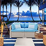 SUNBURY Outdoor 2-Piece Sectional Wicker Sofa Chair, Elegant Patio Furniture Add-on Loveseat for Backyard Garden Pool (Heritage Blue)